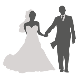 Wedding couple walking silhouette 4