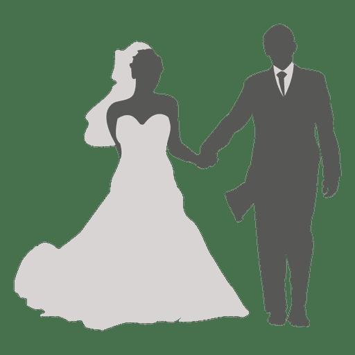 Wedding couple walking silhouette 4 Transparent PNG