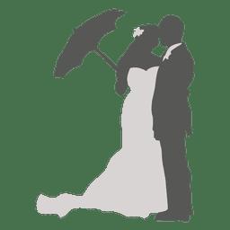 Hochzeitspaar mit Regenschirmschattenbild
