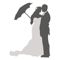 Wedding couple with umbrella silhouette