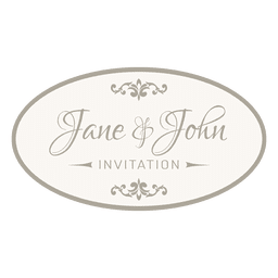 Wedding invitation round badge 6