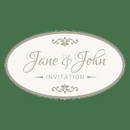 Wedding invitation round badge 6
