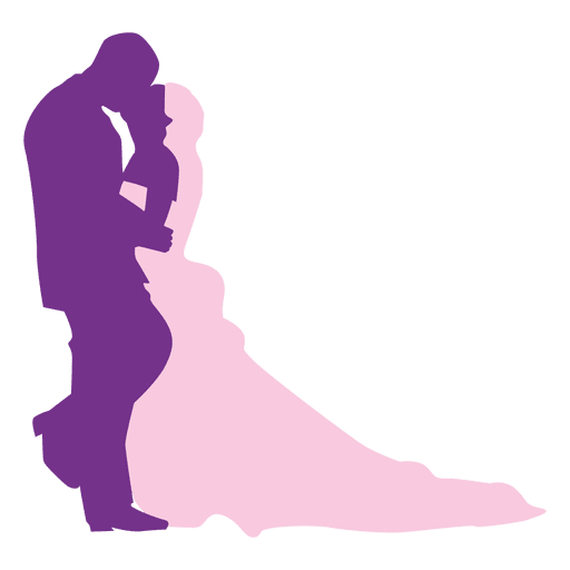Beso de boda silueta Transparent PNG