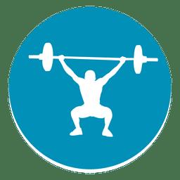 Icono de círculo de levantamiento de pesas