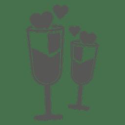 Taças de vinho com corações
