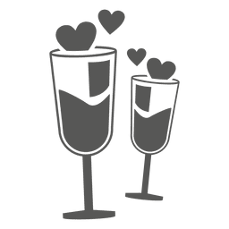 Vidros de vinho com corações