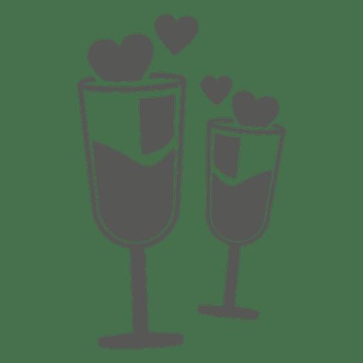 Copas de vino con corazones Transparent PNG