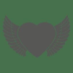 Icono de corazón con alas