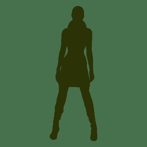 Silueta de niña de moda de invierno Transparent PNG