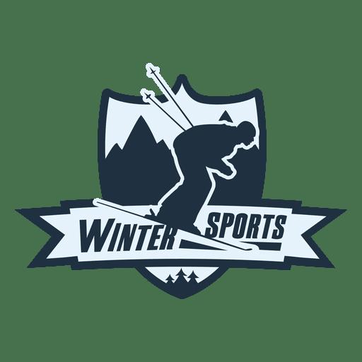 Etiqueta de deportes de invierno