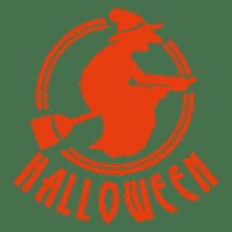 Etiqueta de halloween de escoba de bruja