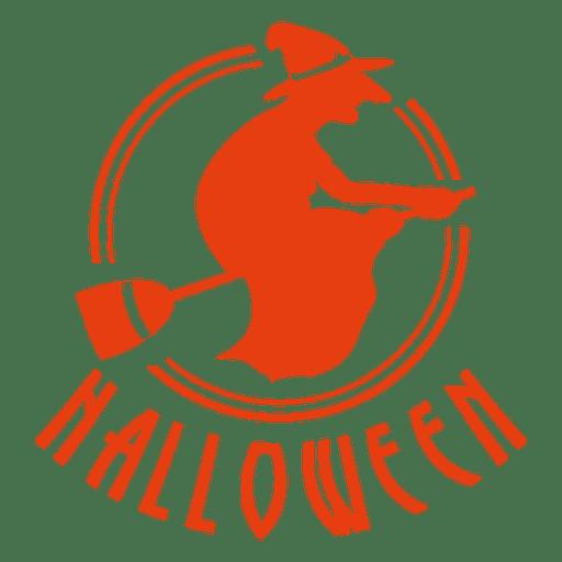 Witch broom halloween label