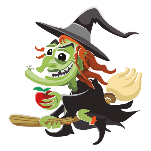 Witch cartoon on broom