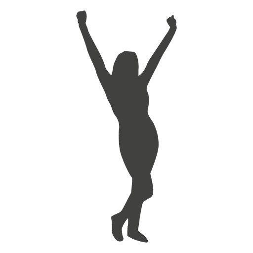 Woman celebrating silhouette Transparent PNG