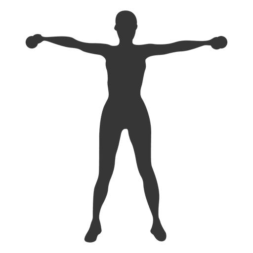 Woman doing exercise fitness silhouette