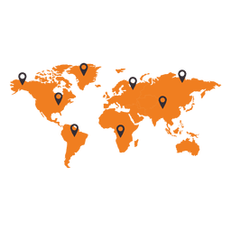 Mapa del mundo con puntero continente