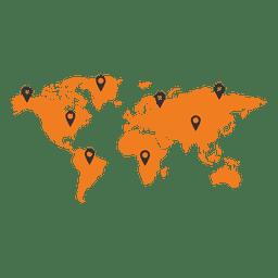Mapa mundial com ponteiro de continente