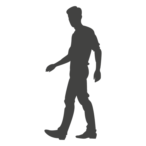 Young boy walking silhouette 2 Transparent PNG