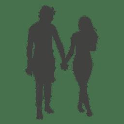 Par jovem, romancing, silueta