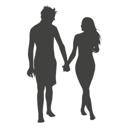 Young couple romancing silhouette
