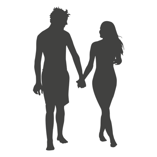 Young couple romancing silhouette Transparent PNG