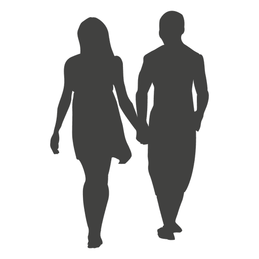 Young couple romancing silhouette 2 Transparent PNG