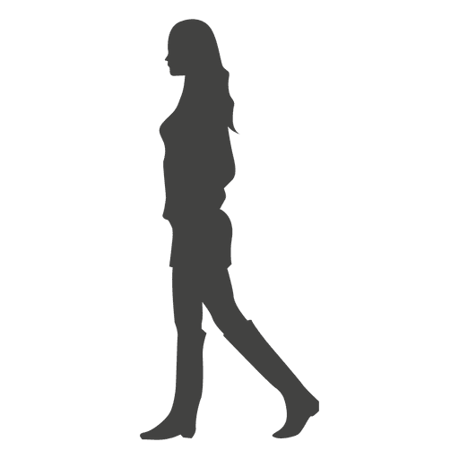 Young girl walking silhouette Transparent PNG