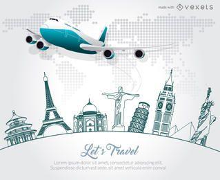 Fabricante de promoção de cartaz de skyline de viagens