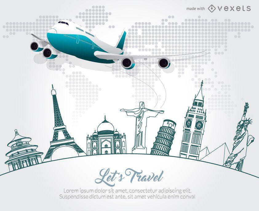 Travel skyline poster promotion maker