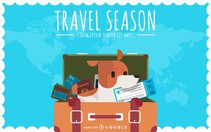 Creador de póster de viaje plano
