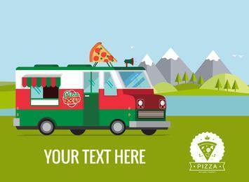 camión de comida plana ilustración del cartel fabricante