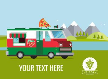 Flat food truck poster illustration maker