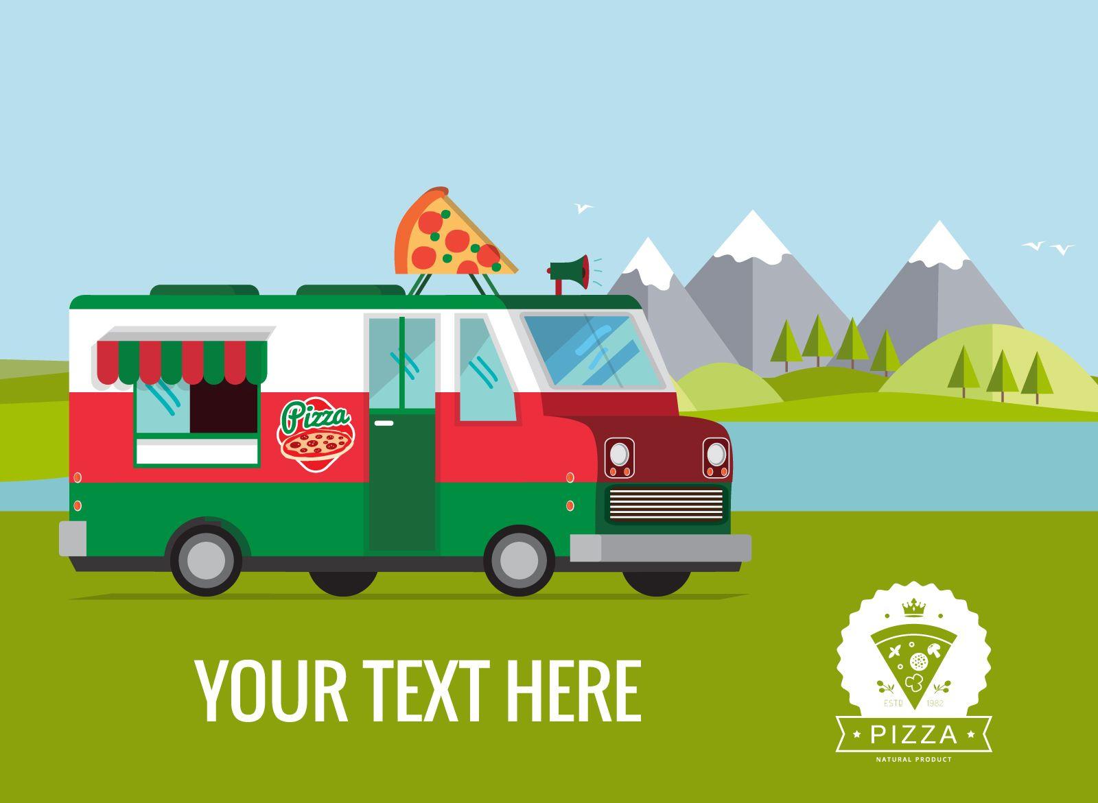 Flat food truck poster illustration maker