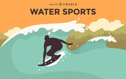 Creador de cartel de deportes de agua plana.