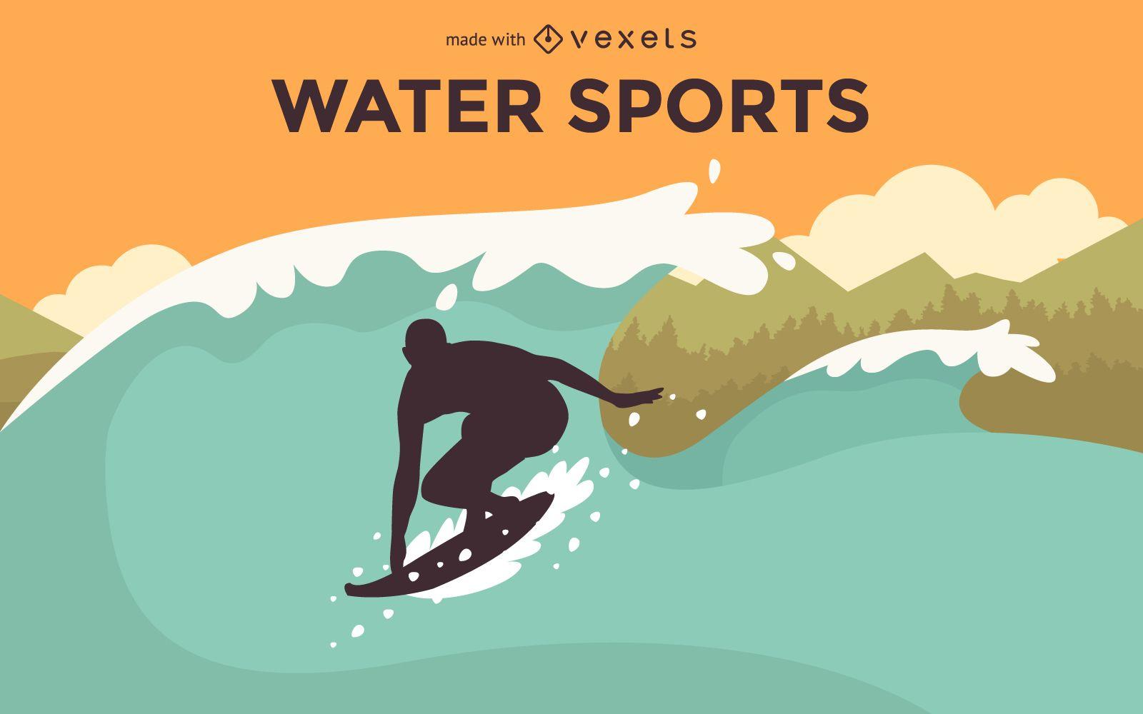 Creador de carteles de deportes acuáticos planos