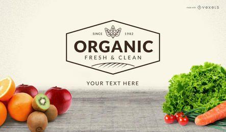 Creador de promoción de etiqueta de comida orgánica