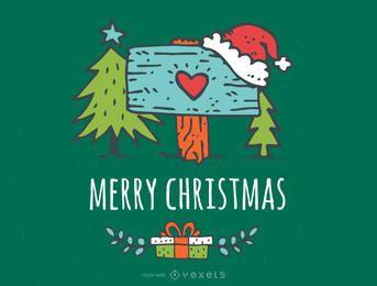 editor cartão de Natal bonito desenhado mão