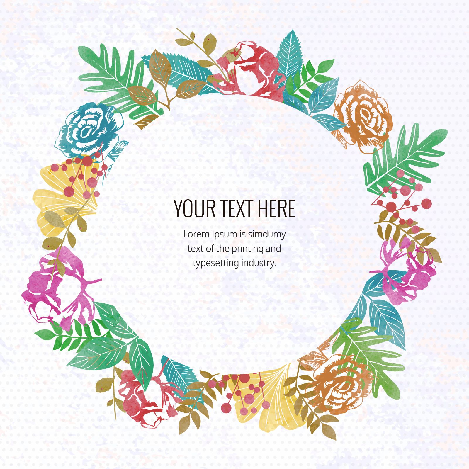 Floral watercolor frame creator - Editable design