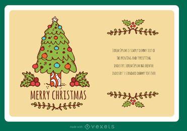 acidente vascular cerebral desenhado à mão criador de cartão de Natal