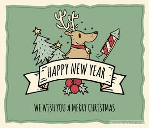 Fancy hand-drawn Xmas card editable