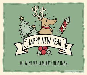 Fantástica tarjeta de Navidad dibujada a mano editable