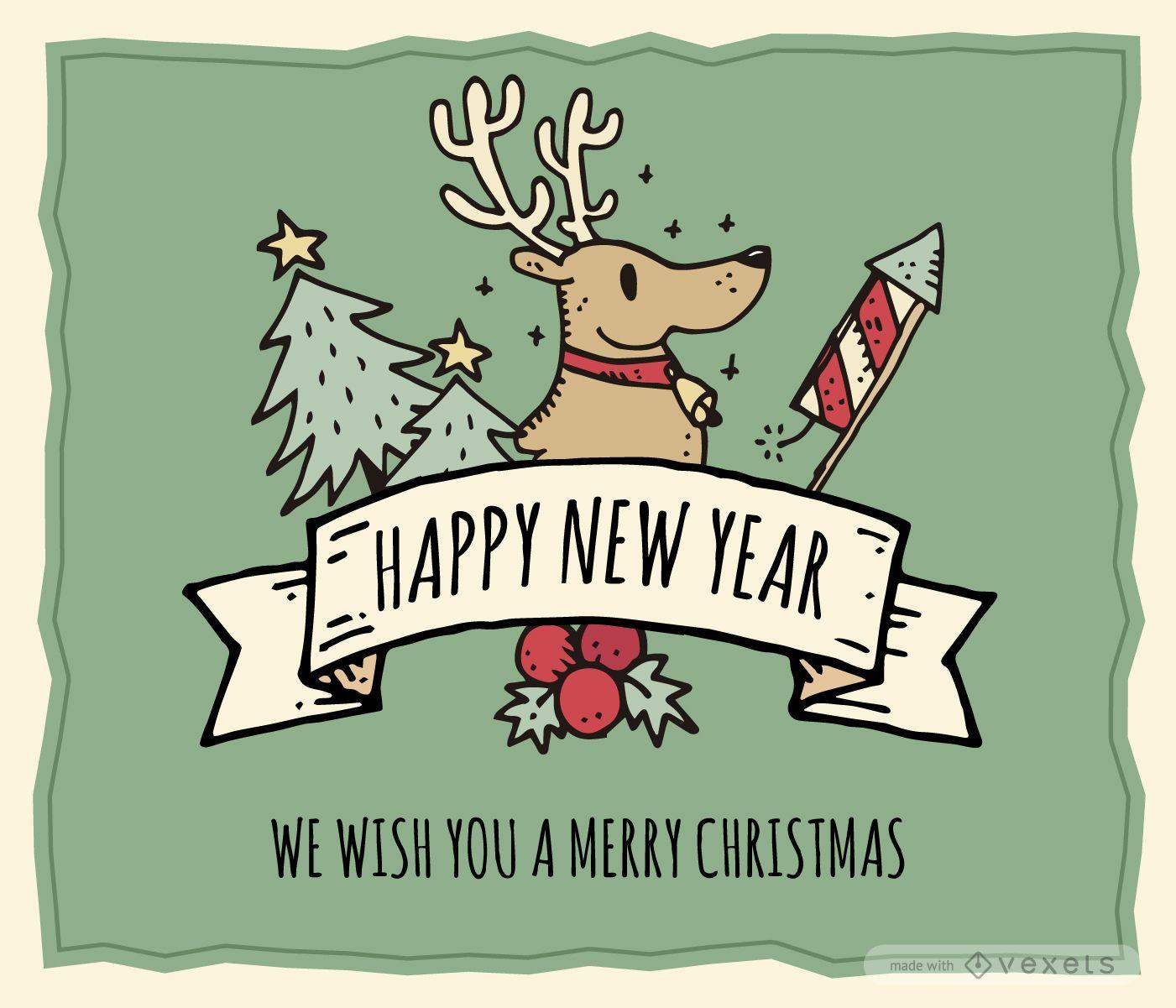 Ausgefallene handgezeichnete Weihnachtskarte editierbar