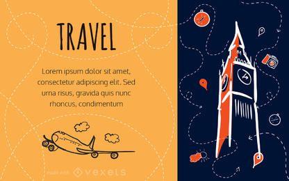fabricante de viagens do doodle cartão
