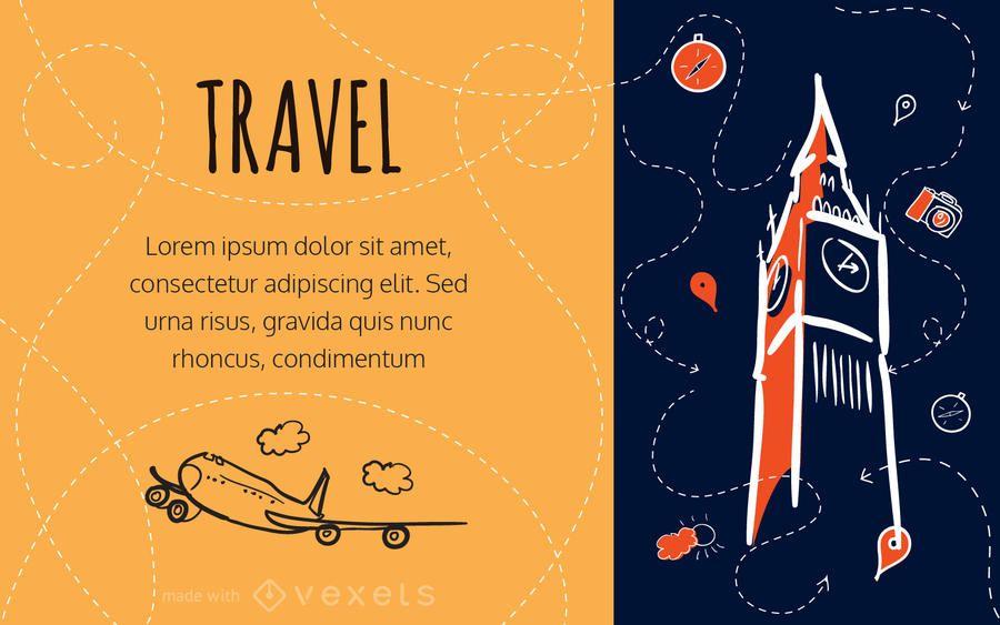 fabricante de la tarjeta del viaje del doodle
