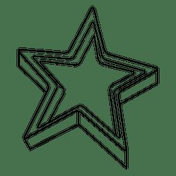 Estrella 3d icono de trazo 01