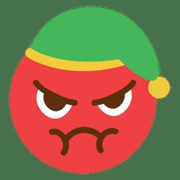 Emoticon de cara de sombrero de elfo rojo enojado 5