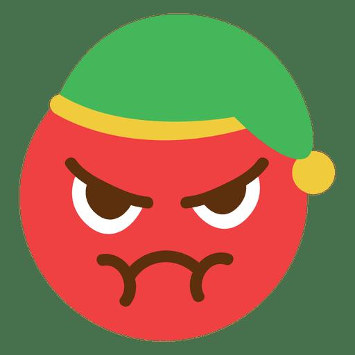 Emoticon de cara de sombrero de elfo rojo enojado 5 Transparent PNG