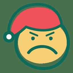 Emoticon de rosto de chapéu de Papai Noel com raiva 33