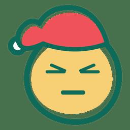 Verärgertes schielendes Auge Weihnachtsmann-Hut Emoticon 34