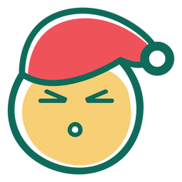 Zangado olho de papai noel chapéu rosto emoticon 35